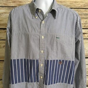 Tommy Hilfiger XL Blue Stripe Long Sleeve Shirt H5